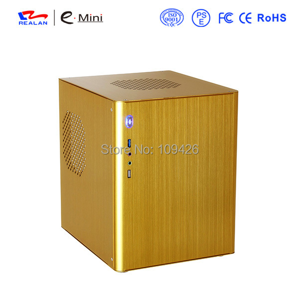 Realan D5 Vertical Golden Aluminum Mini ITX Case For Mini ITX And Micro ATX Motherboard, USB2.0 + 3.0, 2 x Audio Ports(China (Mainland))