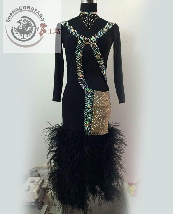 New Latin dance costumes senior sexy long sleeves feather latin dance dresses for women latin dance competition dresses S-4XLОдежда и ак�е��уары<br><br><br>Aliexpress