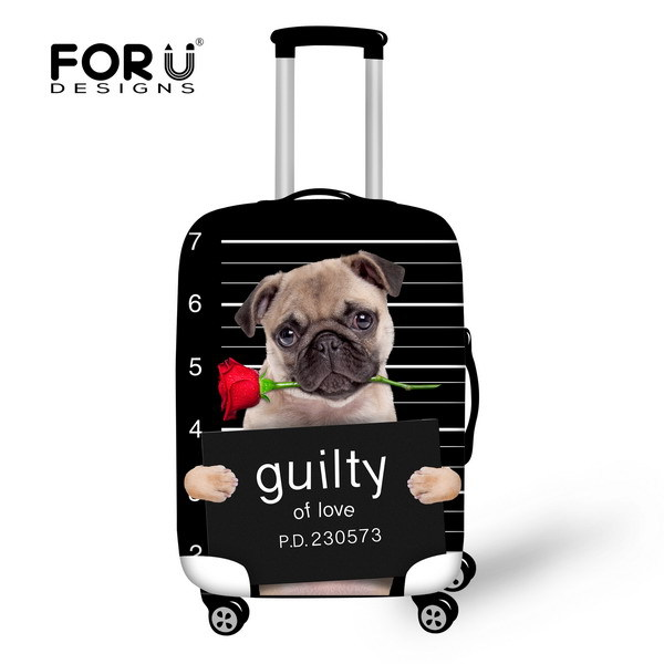 Designer 3D Animal Luggage Suitcase Protective Cover Cute Dog Elastic Luggage Cover Waterproof Dust Cover For 18-30 inch Cases