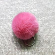 8 CM 27 Cores Pompom Fofo Chaveiro Bola de Pêlo de Coelho Bonito Creme Preto Artificial Pele De Coelho Chaveiro Carro Das Mulheres saco do Anel Chave(China)