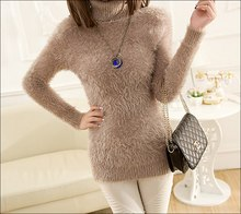 2015 new long mohair in Korean version of self make solid color Turtleneck mohair Pullovers Sweater women(China (Mainland))