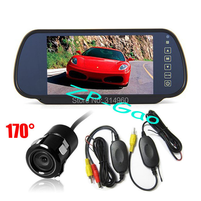 "7"" TFT LCD Mirror Monitor Car Rear View Kit + Mini Wireless Reversing Camera 170 degree Waterproof Free Shipping(China (Mainland))"
