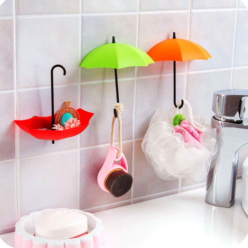 3PCS/Lot Colorful Decorative Umbrella Style Clothes Key Hat Robe Hall Wall Hook for Bathroom Kitchen Door Shelves Hanger Hooks(China (Mainland))