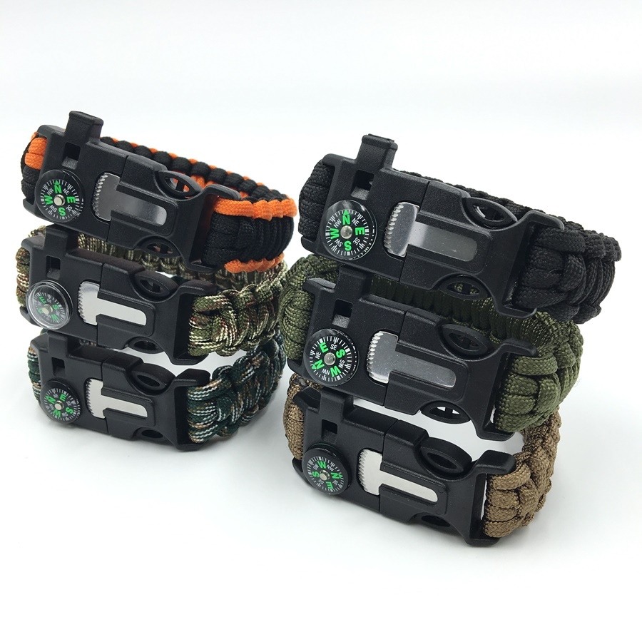 Men's Paracord Survival Bracelet Parachute Cord Wristband Emergency Rescue Rope Flint Fire Starter Buckle Whistle Compass Kits(China (Mainland))