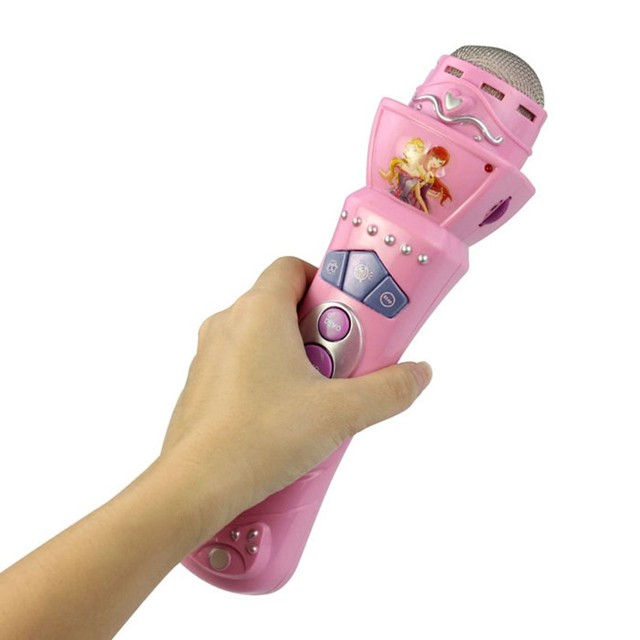 Best seller Free Shipping New Wireless Girls boys LED Microphone Mic Karaoke Singing Kids Funny Gift Music Toy Pink Mar23