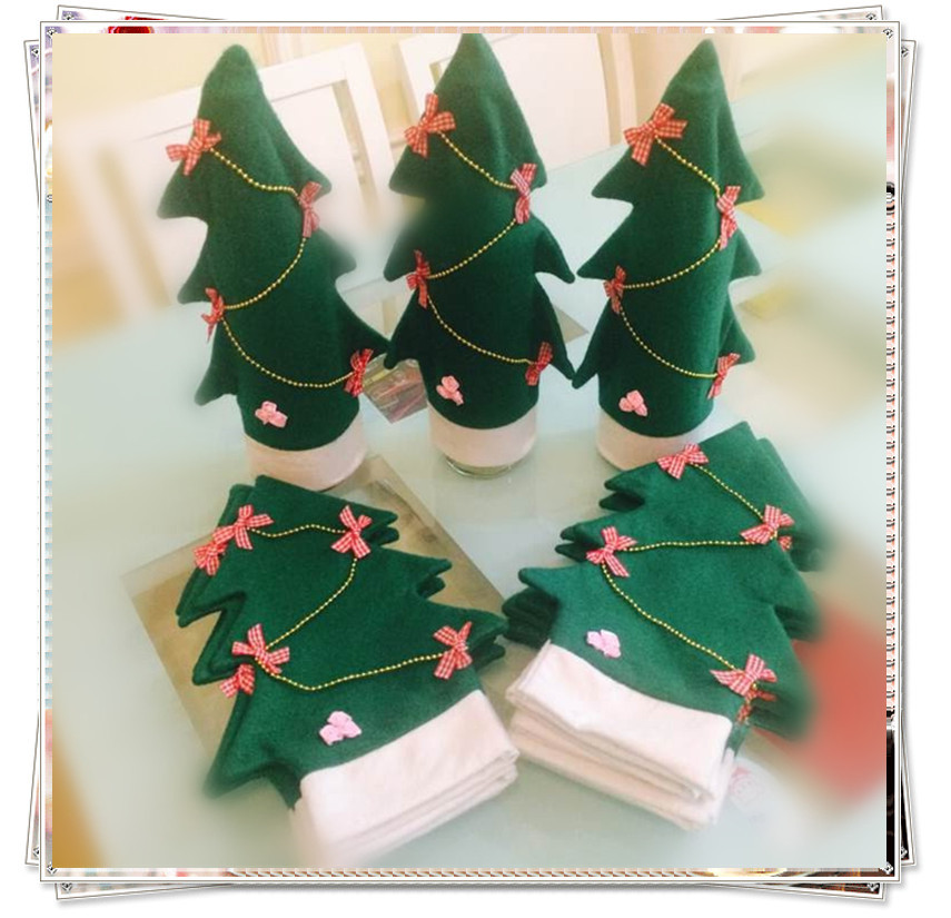 christmas tree decoration wine bottle hat gifts for xmas dinner new year ornaments,enfeites de natal decoracion navidad adornos(China (Mainland))