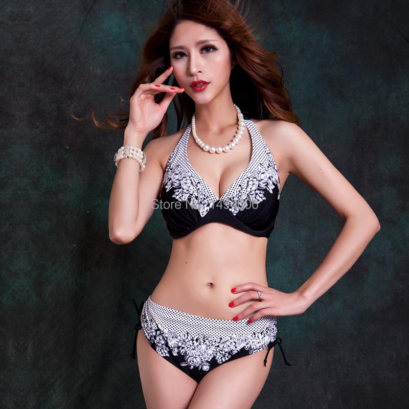 Extra Large Size Middle Waist Printed Bikini Big Breast Cup Tunic Bikinis Set Swimwear Swimsuit Soft Steel Bathing Suit(China (Mainland))