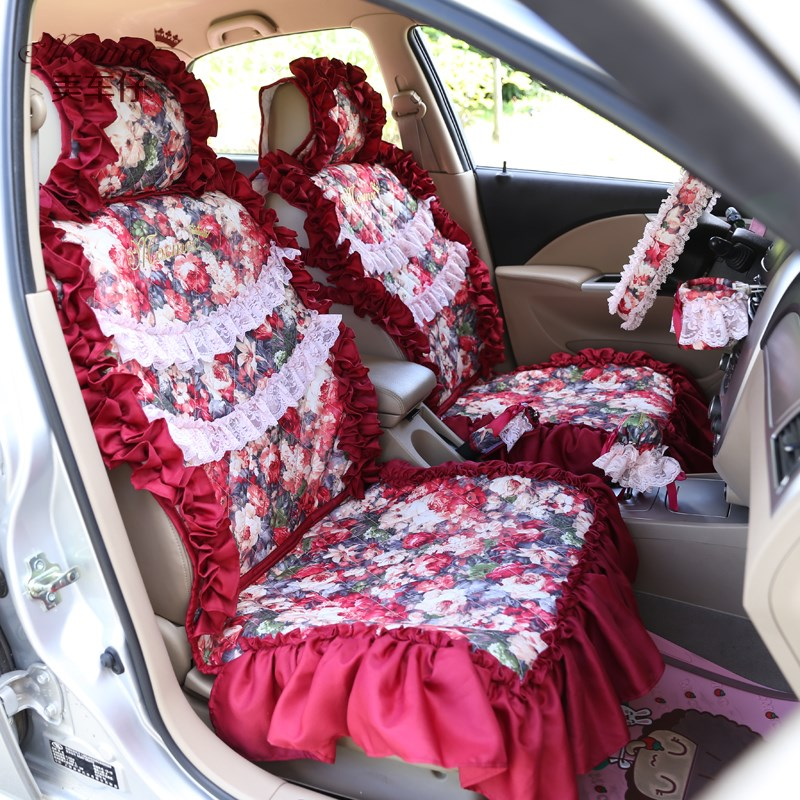 2016 Newest Red Decorative Women Car Seat Cover Full Set