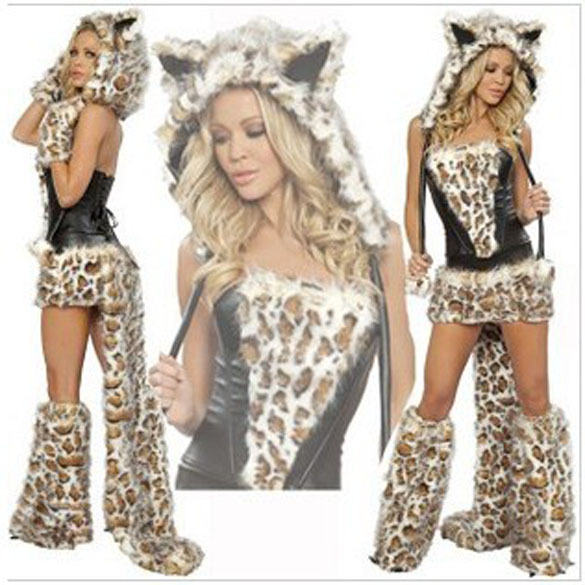 New Sexy Leopard Cat Suits Adult Wolf Costumes With Tail Fancy Cosplay Costume For Women Halloween Party Fur Animals Cats R700(China (Mainland))