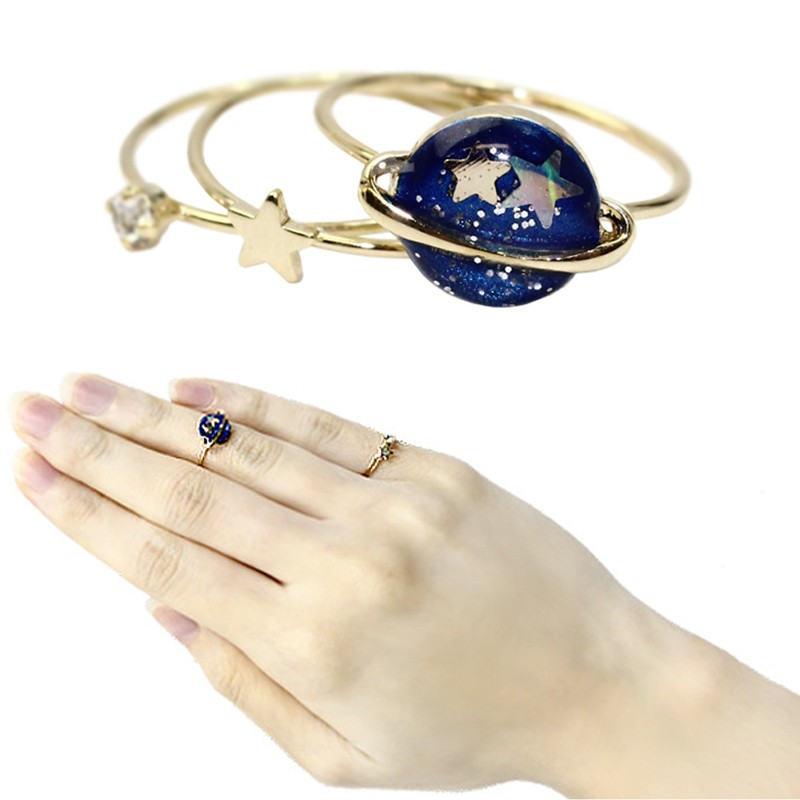 Fashion Lovely Charm Star Universal Rhinestone Finger Knuckle Rings Set for Women 3pcs/set SA116(China (Mainland))