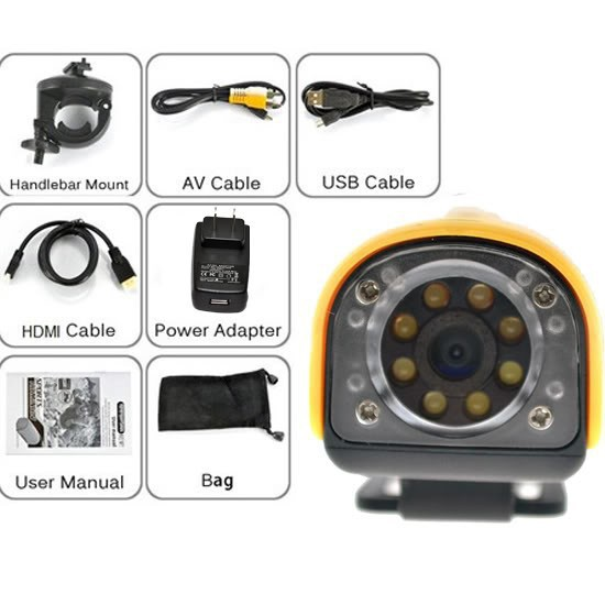DHL Free Shipping Cheap Sports 5Mp 1280x720P HD Video Camera Helmet Camera 20M UnderWater with 850Mah Battery,TF Card Slot(China (Mainland))