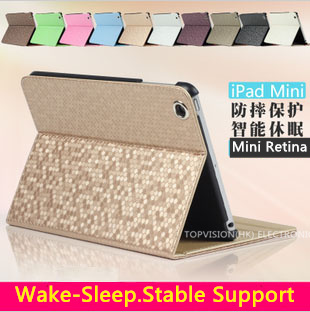 stand style cover for apple ipad mini 1 2 3 case for ipad mini retina flip PU skin fashion material(China (Mainland))