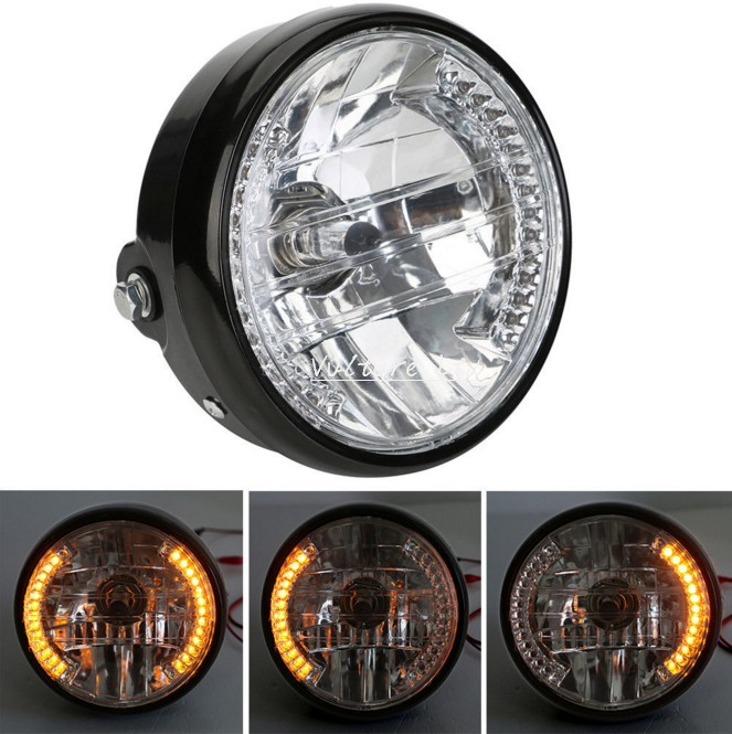 """7"""" MOTORCYCLE HEADLIGHT PROJECTOR FOR HARLEY BOBBER Dyna YELLOW LED TURN SIGNAL(China (Mainland))"""