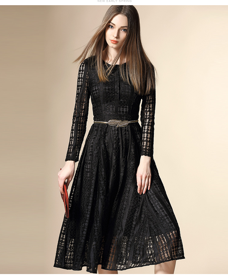 [Pre Sale] 2016 New In Early High-end Spring Women Polka Dot Lace Dress Exquisite Womens Long-sleeved Dress Black/WhiteОдежда и ак�е��уары<br><br><br>Aliexpress