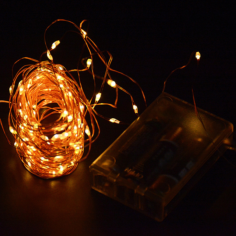 10M 100 led 3 AA Battery Powered Decorative LED Copper Wire Fairy String Lights Warm White White for Christmas Wedding Parties(China (Mainland))