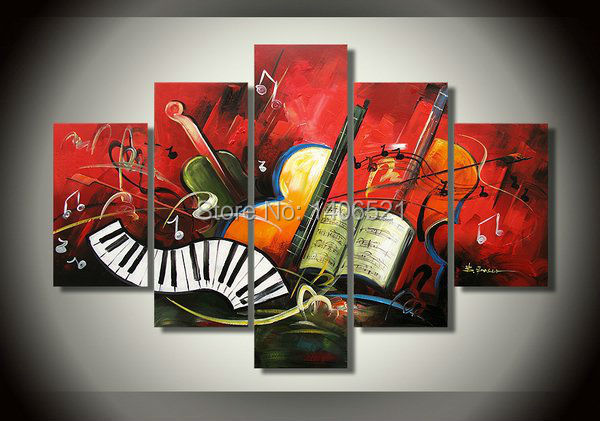 Cheap bargain price beautiful abstract Guitar Music Instrument Violin piano oil painting acrylic paintings 5 piece panel(China (Mainland))