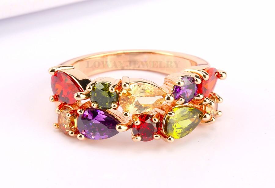 LOWAY Модный MultiЦвет Rings Женщины Anillos Cubic Zirconia 18K Розовый Золото Plated Свадьба Finger Ring Fine Jewelry Bague JZ5900