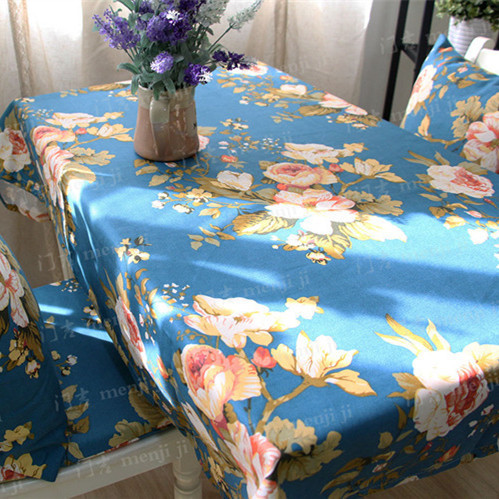 Pastoral wedding tablecloths linen round table cloth rectangle blue color dinner coffee table covers flag home decoration(China (Mainland))