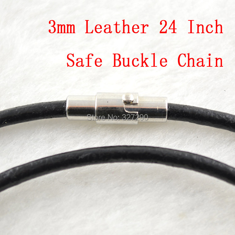 High Quality 3mm Genuine Leather 24'' Necklace Chain Safe Magnet Buckle Chains For Necklace Making 50pc/lot(China (Mainland))