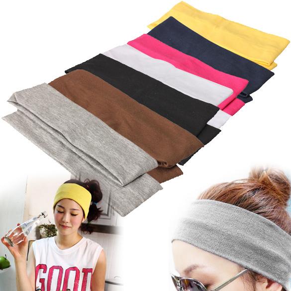 2Pcs Sporty Yoga Dance Biker Elastic Wide Headband Stretch Ribbon Hairband Headwear(China (Mainland))