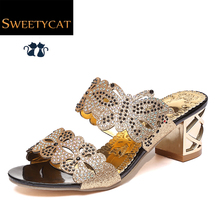 2016 New fashion rhinestone cut-outs women sandals Square heel Party summer shoes woman high heel sandals with Butterfly L5(China (Mainland))