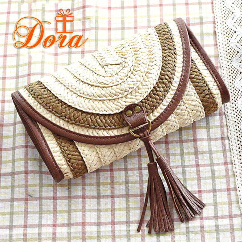 Straw women clutches weave messenger bag high quality beach bag summer style famous brands lady shoulder bag designer fashion(China (Mainland))