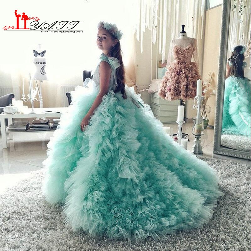 De luxe Menthe Fleur Fille Robes Ruches Puffy Première Communion Robes pour les Petites Filles Arc Pageant Enfants Robe pour Les Mariages 2016(China (Mainland))
