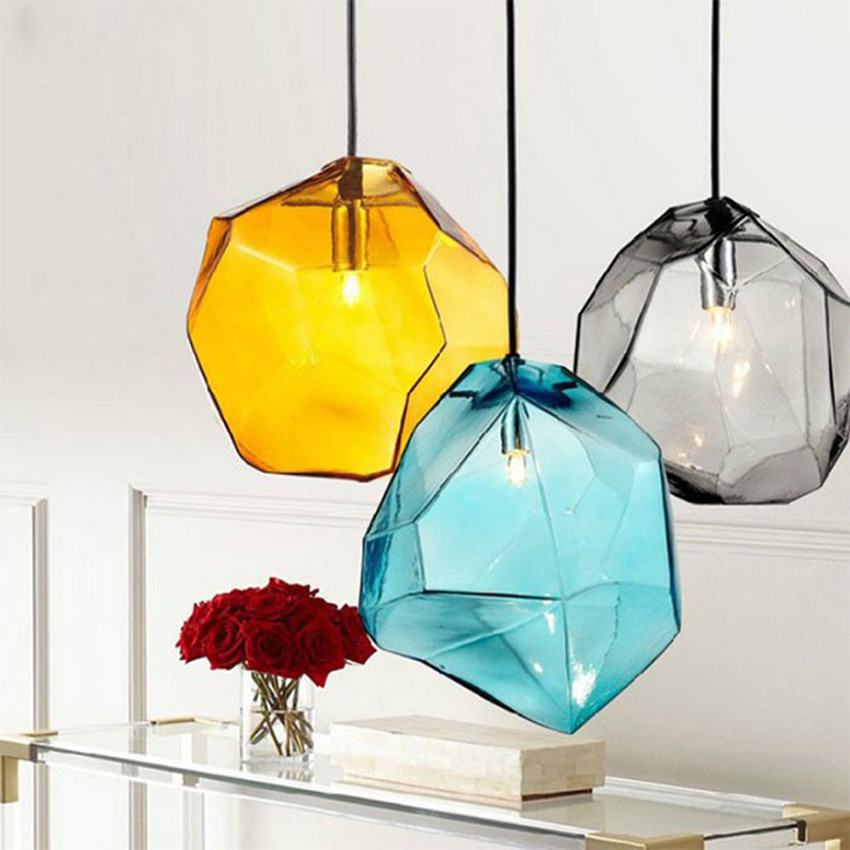 Colorful crystal glass stone pendant light 1/3 heads G9 base indoor lighting hanging lamp for restaurant dining room bar deco(China (Mainland))