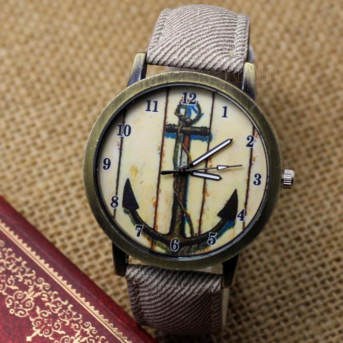 New Vintage Style Anchors Dial Leather Quartz Wrist Watch Women s Men Gift