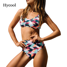 S-2XL floral print crop top bikini set high waist swimsuit plus size swimwear swimming suit for women color block bathing suits