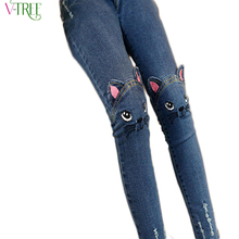 Spring autumn 2016 stereo cat jeans for girls kids ripped jeans fashion jeans for teenagers girl denim jeans(China (Mainland))