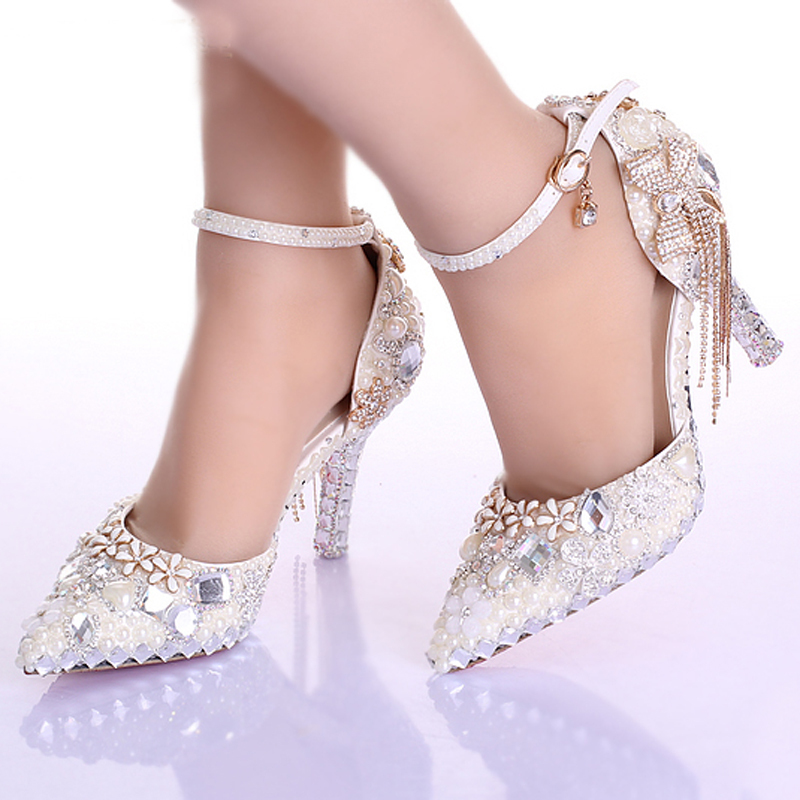 Pointed Toe Ankle Strap Boots Bridal Shoes Ivory Pearl Wedding Party Dress Shoes Rhinestone Pumps for Wedding Events Prom Shoes<br>