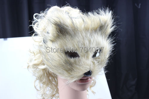 (20 pcs/lot) New Hot Sale Handmade Half-face Light Brown Color Plastic with Soft Hair Cute Fox Mask(China (Mainland))