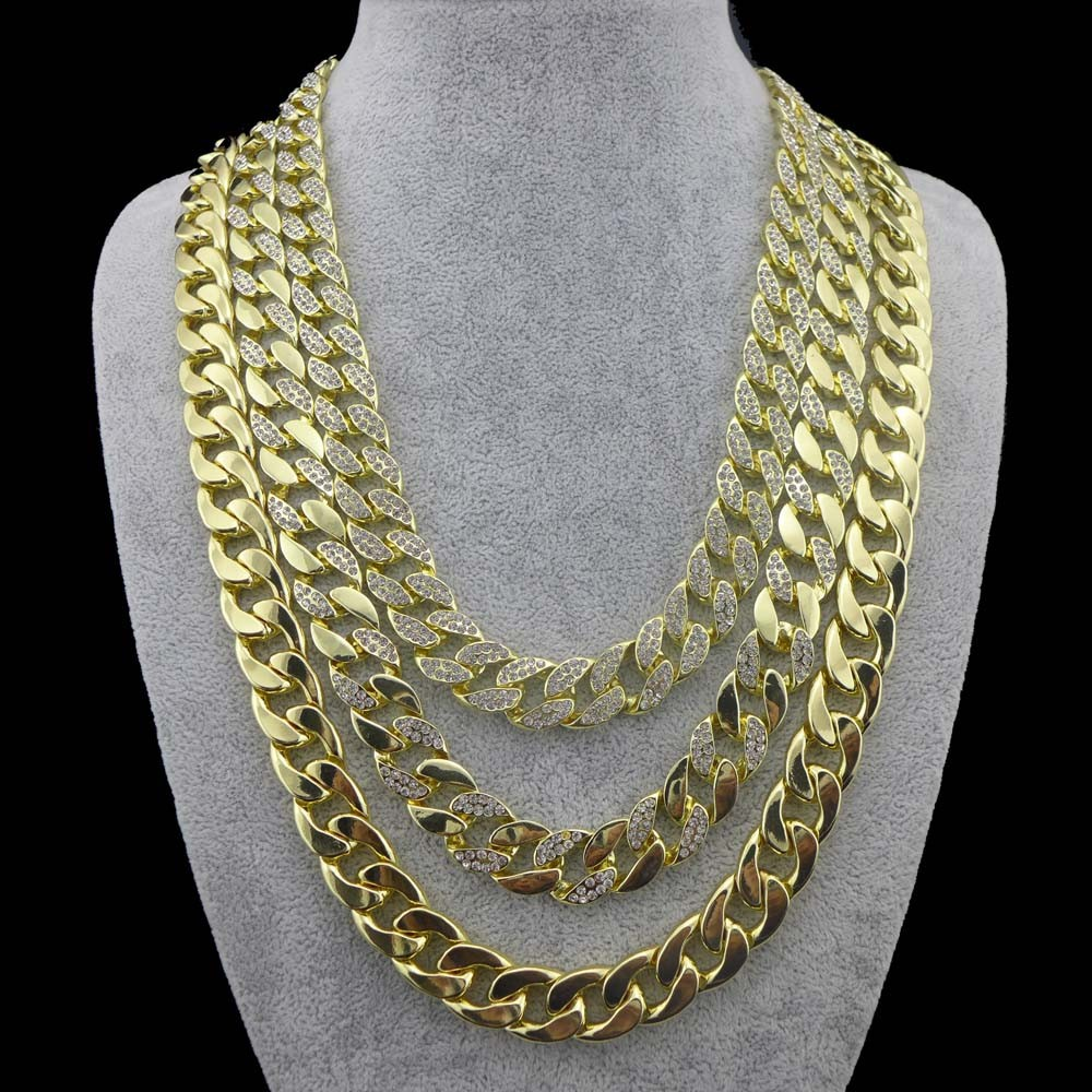 Newet 14mm 24 gold silver mens miami cuban link chain for Bling jewelry coupon code