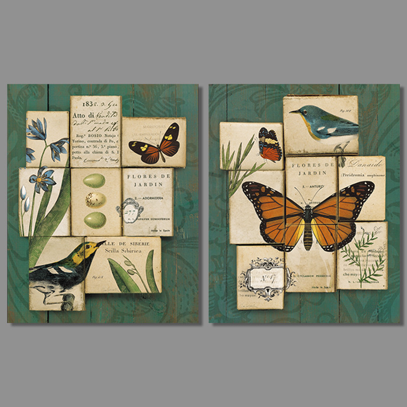 2pcs/set Green birds animal butterfly Picture decoration Canvas Painting wall Art eggs print living room home decor unframed(China (Mainland))