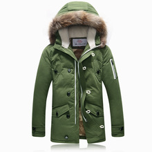 Winter Jacket Men Hooded Green Parka Luxury Coats With Fur Hood Fashion Design Classic Warm Jackets Plus Size Navy Blue Yellow