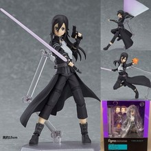 Free shipping 2016 New Japan Anime Figma Sword Art Online Yuuki Kirito Sao New PVC Action Figure Collection Model Toys Doll 15cm