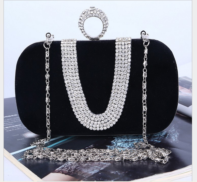 crystal black handbag women clutch fashion prom party night bag casual-bag evening bags ladies handbags free shipping LYCL035(China (Mainland))