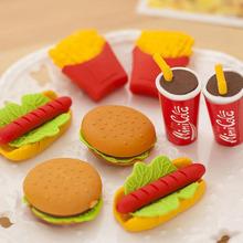 8pcsbag(4pcsbag) kawaii 3D eraser cute food potato chips hamburger modelling eraser Korea stationery for kids