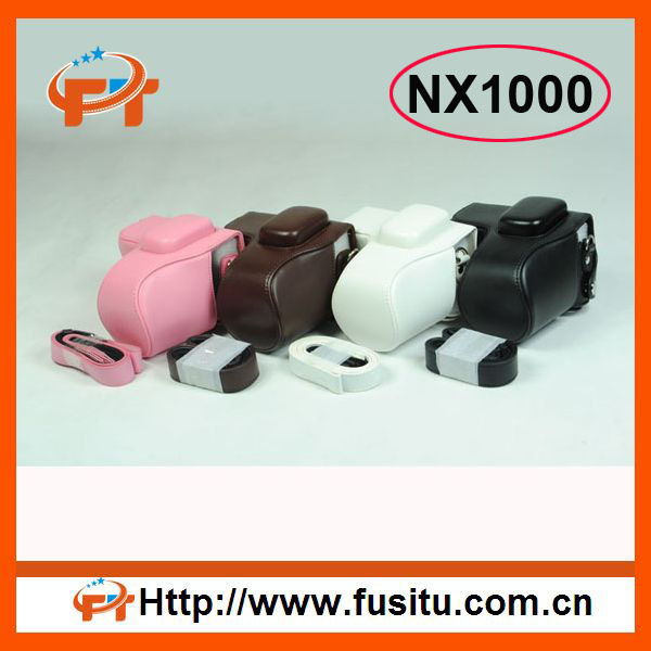 Free shipping Pu leather camera bag for Samsung NX1000 20-50mm Lens