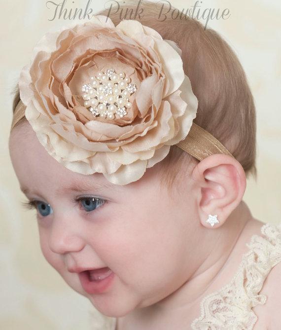 12pcs/lot Satin Flower Matching Sparking Rhinestone Pearl Headband Layered Flower Headband Couture Headband(China (Mainland))