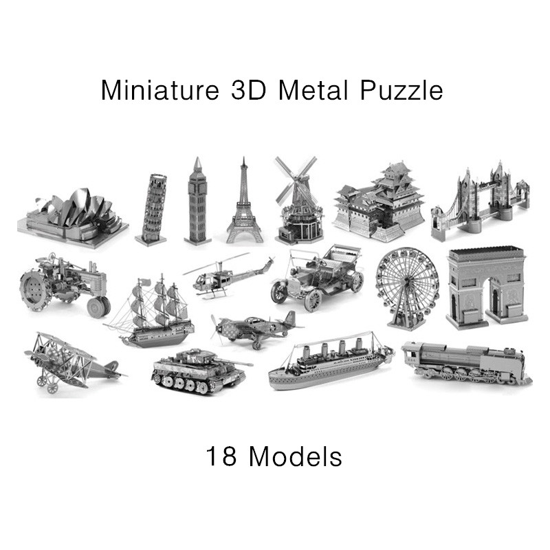 Miniature 3D Metal Model Puzzle Building Kits Laser Cutting Solid Jigsaw Scale Model Ship Fighter Aircraft Car Tank Helicopter(China (Mainland))
