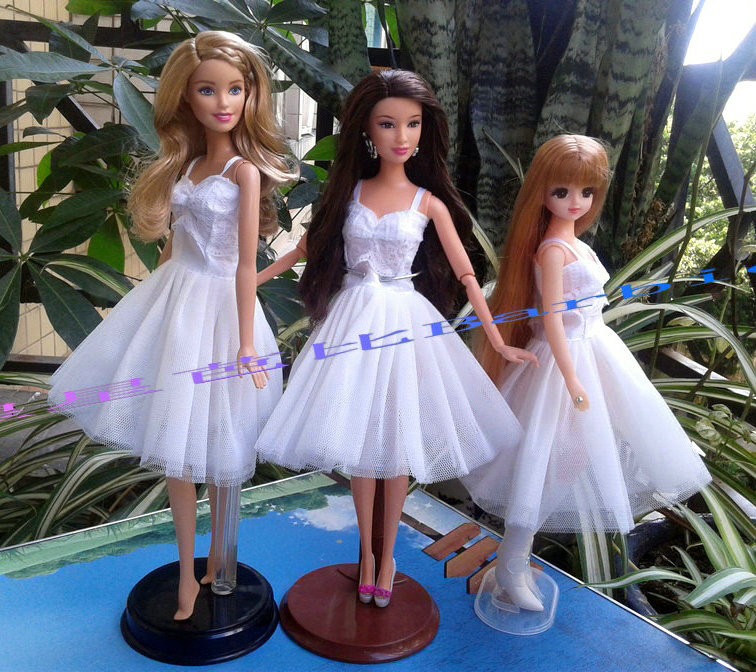 Xmas Competition Presents For Ladies Reward Doll Slim Quick White Night Gown Marriage ceremony Dancing Garments For Barbie 1:6 Doll BBI00137