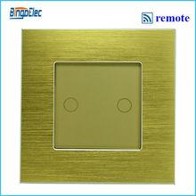 2 gang дистанционного касание пуговица переключатель, Золотой алюминий и стекло панель дистанционного лёгкие переключатель, Ес / великобритания классические AC110-250V