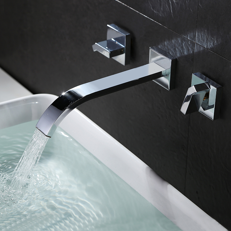 Tenfe all copper basin taps into the wall of the double dual control concealed hot and cold taps TF6203<br>
