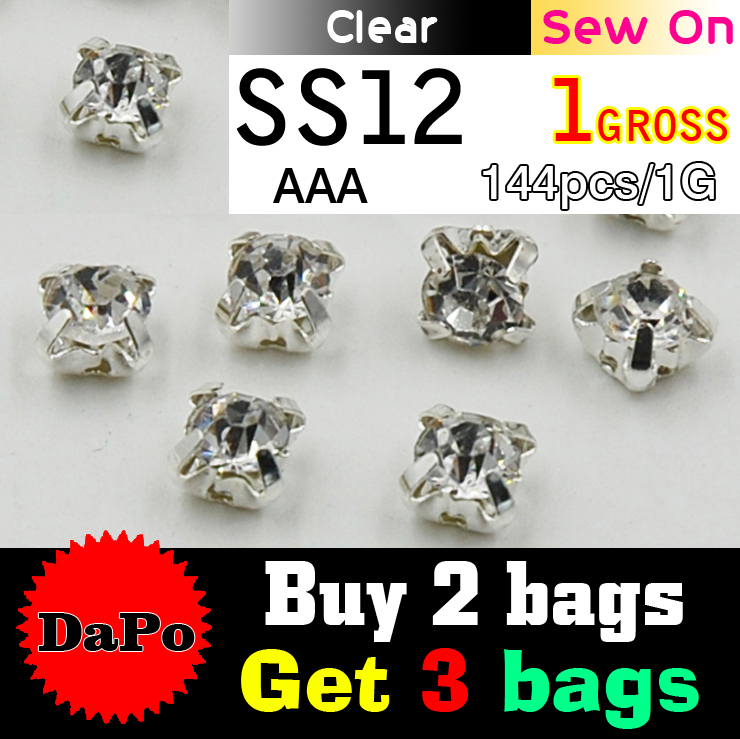 Free Shipping SS12 3mm 144pcs/lot Silver Base Clear Sew On Rhinestones, Claw Rhinestones For Garment,DIY,Wedding Dresses(China (Mainland))