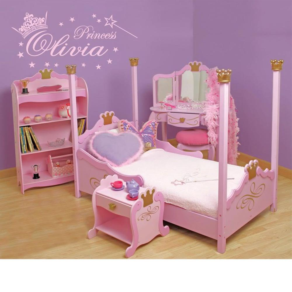 Baby bed name in english -  Lh067 Personalized Custom English Name Princess Crown Stars For Kids Girls Room Decor Bedroom Diy Poster