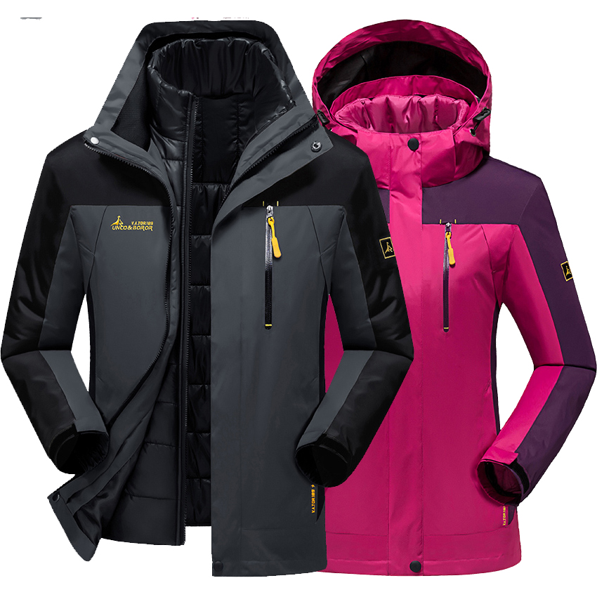 New Winter men women jacket thermal Velvet Down Parkas coat Outdoor Sports climbing men jackets jaqueta Waterproof Windproof(China (Mainland))