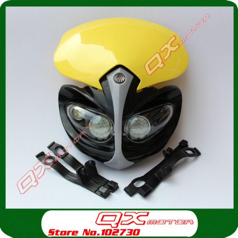 Yellow Motorcycle Universal Vision LED led lighting bulb For Chinese Kayo Apollo Bosuer Xmotos Dirt Pit Bikes Motocross(China (Mainland))