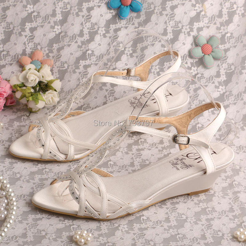 Wedopus Low Sandals Wedge Shoes Ivory Satin Summer Shoes Bridal Dropshipping(China (Mainland))